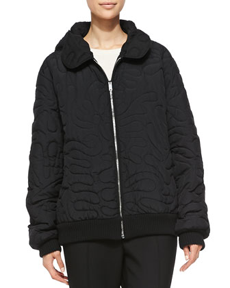 Swirl-Embroidered Quilted Coat