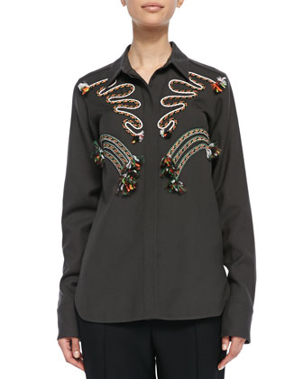 Cord Embroidered Blouse, Gray