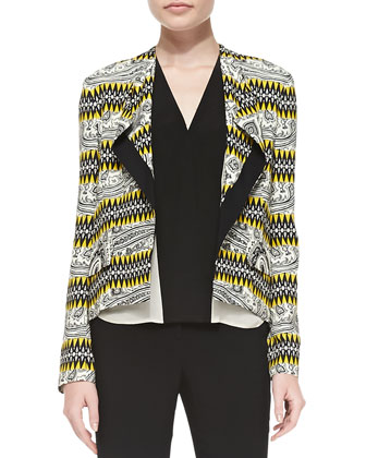 Tribal Striped High-Low Crepe Jacket