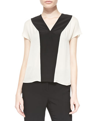 Colorblock V-Neck Cap-Sleeve Top, White