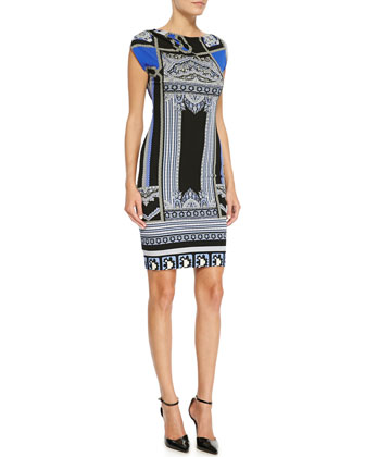 Printed Cap-Sleeve Jersey Dress