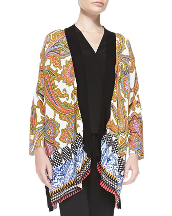Paisley-Front Geometric-Back Kimono Cardigan, Colorblock V-Neck Cap-Sleeve ...
