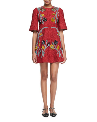 Floral Embellished Jacquard Dress, Red