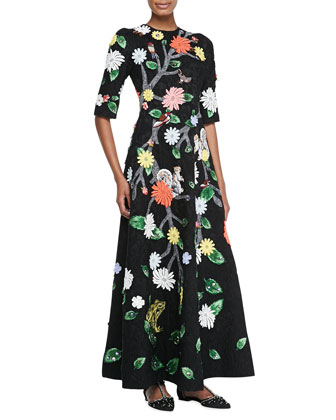Flora & Fauna Jacquard Gown, Black/Multi