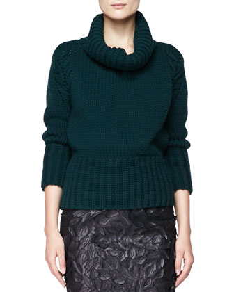 Chunky Knit Turtleneck Sweater and Leather Laser-Cut Pencil Skirt