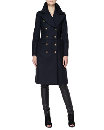 Long Double-Breasted Military Coat