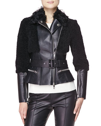 Fitted Leather/Shearling Fur Biker Jacket & Cashmere Crewneck Sweater