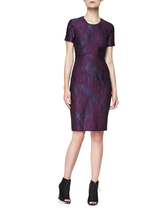 Short-Sleeve Lace-Embroidered Dress
