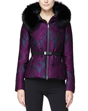 Intarsia Jacquard Puffer Coat with Fur Hood