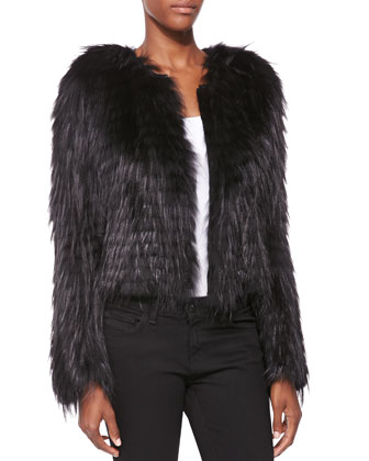 Collarless Fox Fur Jacket, Black