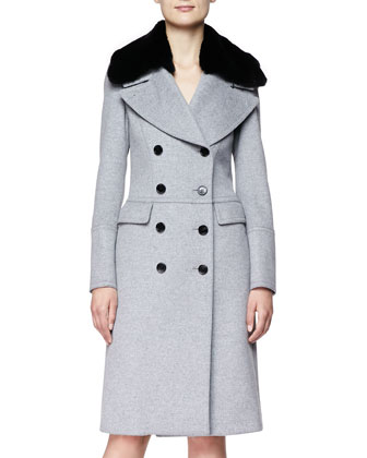 Long Double-Breasted Military Coat with Fur Collar