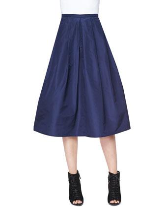 Full Pleated Pocket Skirt