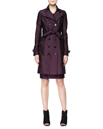Fil Coupe Double-Breasted Trenchcoat & Short-Sleeve Lace-Embroidered Dress