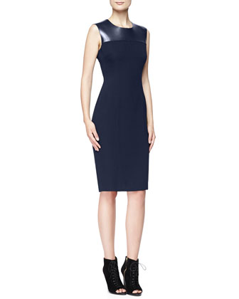Fitted Dress with Leather Yoke, Navy