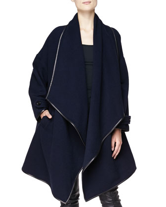 Cashmere Leather-Trim Wrap Coat
