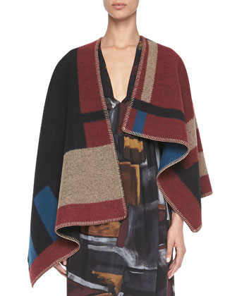 Check Blanket Poncho & Smocked Painted Silk Dress