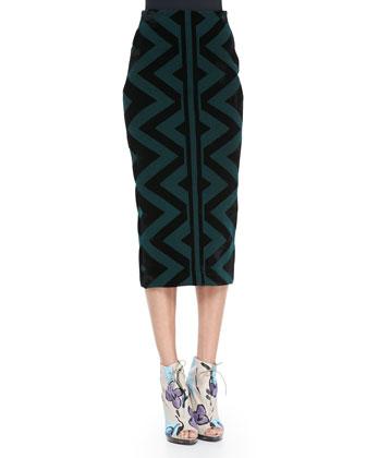 Compact Knit Pencil Skirt, Deep Green/Black