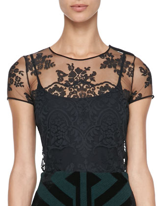 Floral-Embroidered Tulle Top, Black