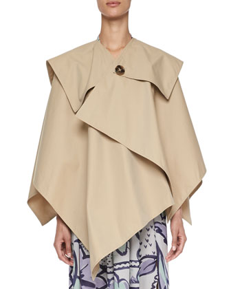 Classic Cotton Trench Cape & Painted Pleated Silk Dress