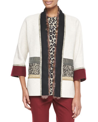 Mixed Media Coat with Fur Trim, Ivory/Multi