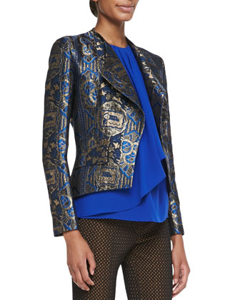 Metallic Jacquard Jacket, Sleeveless Jabot Top & Puff Waffle Skinny Pants