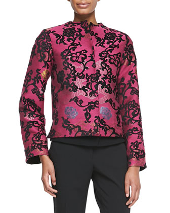 Short Embroidered Jacquard Jacket