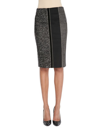 Cap-Sleeve Peplum Top & Tweed Mix-Media Skirt