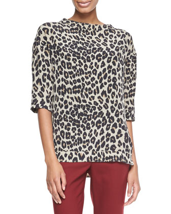Leopard-Print Elbow-Sleeve Top