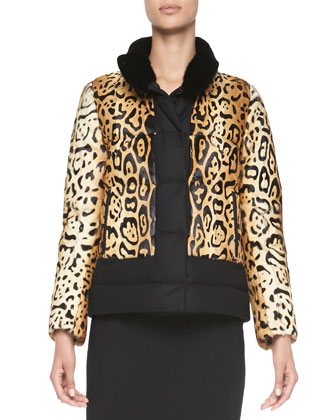 Reversible Animal-Print Fur Jacket