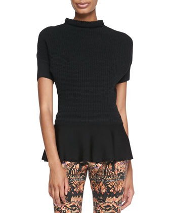 Short-Sleeve Knit Peplum Top