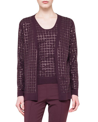 Sequined Embroidered Open-Front Cardigan