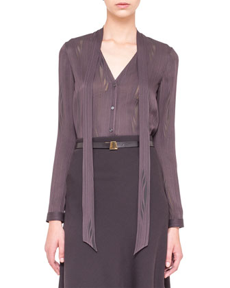 V-Neck Long-Sleeve Faconne Blouse