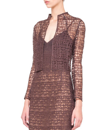 St. Gallen Lace Bolero and Sleeveless Fusion-Embroidery Dress
