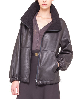 Reversible Lambskin & Shearling Fur Parka Jacket, Brown