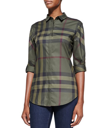 Long-Sleeve Button-Down Check Shirt, Olive