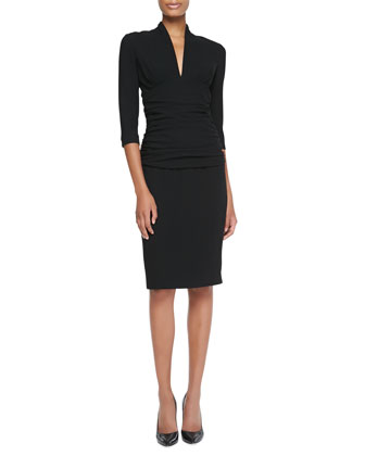 Ruched-Waist Elbow-Sleeve Dress