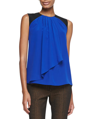 Sleeveless Draped Jabot Top