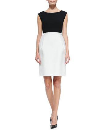 Sleeveless Boat-Neck Gabardine Sheath Dress