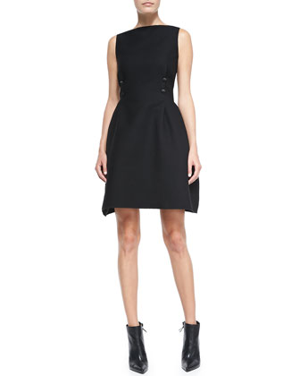4-Button Nip Detail Boat-Neck Dress
