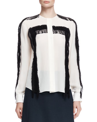 Fringe-Trim Button-Up Blouse