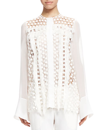 Fringe-Trim Lace Blouse