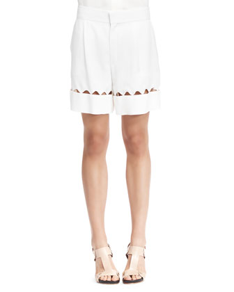Scalloped-Cutout Bermuda Shorts