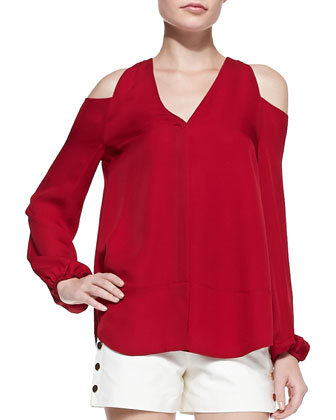 Silk Cold-Shoulder Blouse