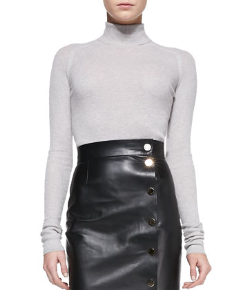 Cashmere Turtleneck & Leather Midi Skirt