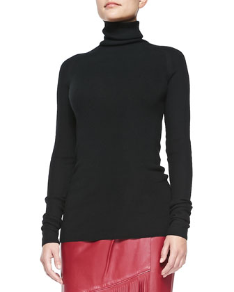 Cashmere Endless Turtleneck Sweater & Leather Skirt with Long Fringe