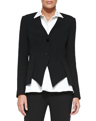 Collarless Asymmetric-Hem Jacket
