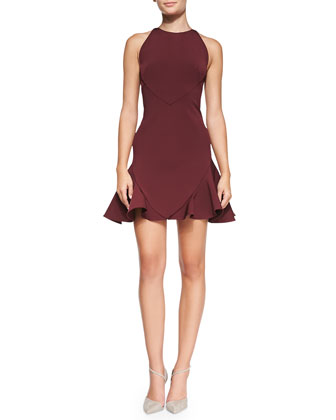 Sleeveless Seamed Flirty Dress, Bordeaux