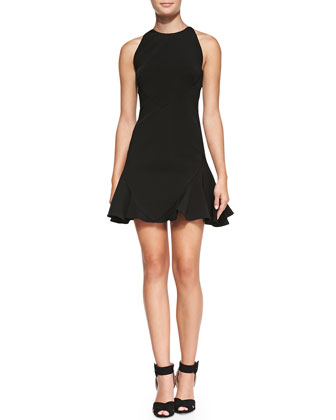 Sleeveless Seamed Flirty Dress, Black