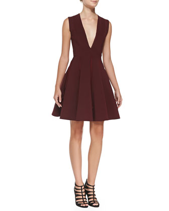 Ruffle-Detail Pleated Dress, Bordeaux