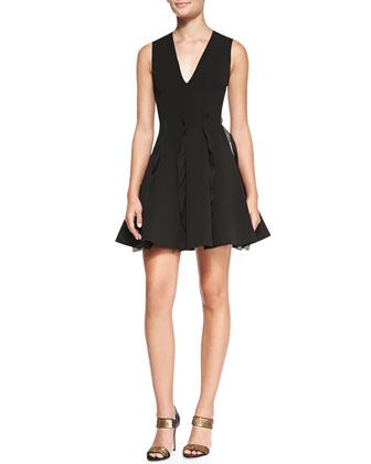 Ruffle-Detail Pleated Dress, Black